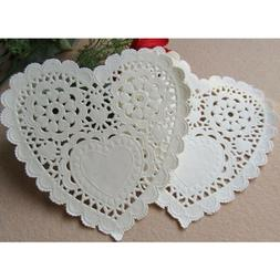 100 Pcs 5.5 Inch Placemats Love Heart Hollow Floral Table Ma
