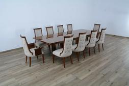 11Pc Luxury Dining Table Leaf Side Chair Rosewood Upholstere