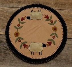 """14"""" Round Sheep & Flower Wool Table Runner / Candle Mat"""