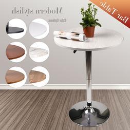 "24"" Wood Round Pub Bar Bistro Table Desk Adjustable Swivel K"