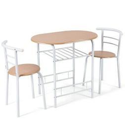 3 pcs Home Kitchen Bistro Pub Dining Table 2 Chairs Set Ligh