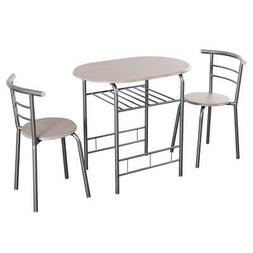 3 PCS Kitchen Dining Set Compact Bistro Pub 2 Chairs & Table