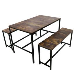 3 Piece Dining Table Set W/2 Bench Glass Metal Kitchen Room
