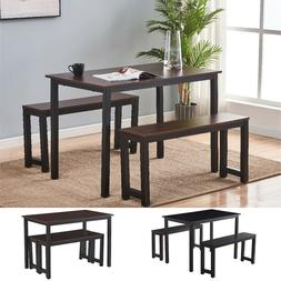 3 Piece Dining Table Set With 2 Benches Wooden Kitchen Dinin