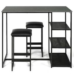 3 Piece Pub Set Industrial Style Faux Marble Top Table and 2