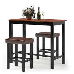 3 Piece Pub Table Set Counter Height Kitchen Breakfast Bar D