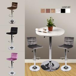3 Pieces Bar Table Stools Set Adjutable Wood Top Swivel Dini