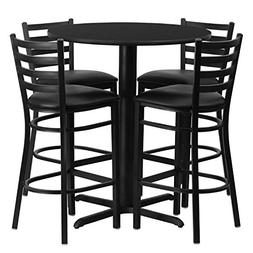 Flash Furniture 30'' Round Black Laminate Table Set with 4 L