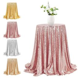 """48"""" Round Glitter Sequin Tablecloth Table Cover Wedding Part"""
