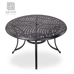 """48"""" Round Patio Dining Table with Umbrella Hole, Aluminum To"""