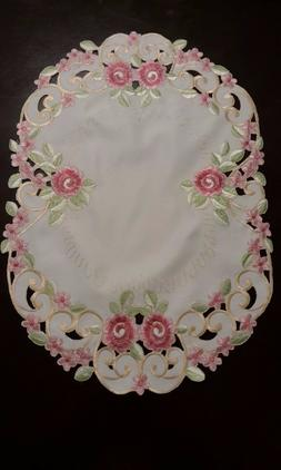 """4pcs 13x19""""Embroidered Placemat  Pink French Roses Table Top"""