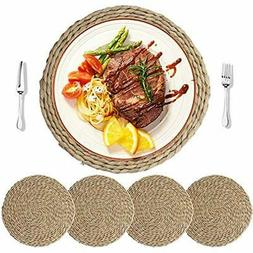 4Pcs Cattail Straw Round Woven Placemats For Dining Table, R