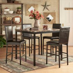 5 pc Dining Set Metal Counter Height Faux Marble Table Padde