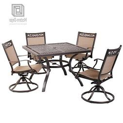 5 PCS Patio Dining Set Outdoor Furniture, Aluminum Swivel Ch