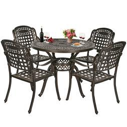 5-Piece Cast Aluminum Patio Dining Set Outdoor Dining Set wi