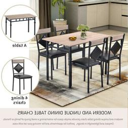5-Piece Dining Room Table Set For 4 Wooden Kitchen Tables an