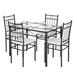 5 piece dining set glass metal table