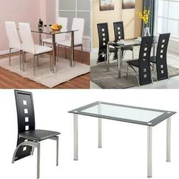 5 Piece Dining Set Glass Table and 4 Chairs Kitchen Breakfas