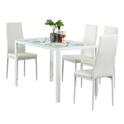 5 Piece Dining Set Glass Table and 4 Leather Chair for Kitch