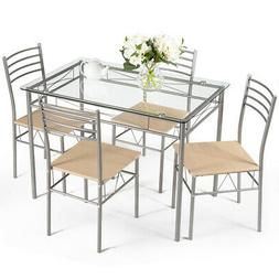5 Piece Dining Set Table And 4 Chairs Glass Top Kitchen Brea