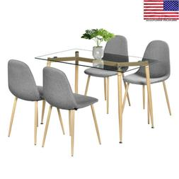5 Piece Dining Table Set 4 Chair Modern Style Simple Dining