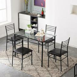 5 Piece Dining Table Set Black 4 Chair Glass Steel Pipe PU K
