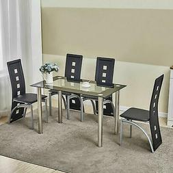5 Piece Dining Table Set Kitchen Room Furniture w/ 4 Chairs