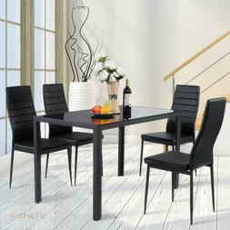 Dining Table Glass Top Set with 4 Leather Padded Chairs 5 Pi