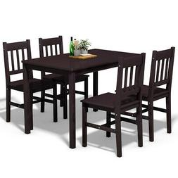 5 Piece Wood Dining Table Set 4 Chairs Home Kitchen Breakfas