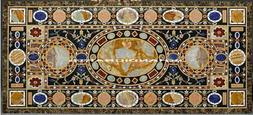"""56"""" X 30"""" Marble Dining End Table Top conference Desk Inlaid"""