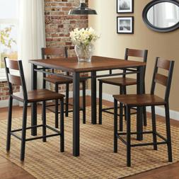 5pc Dark Oak Wooden Metal Counter Height Dining Pub Set Kitc