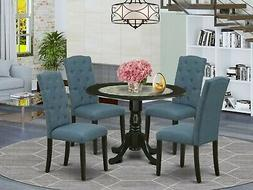 5pc dinette kitchen dining set round pedestal table w/ 4 par