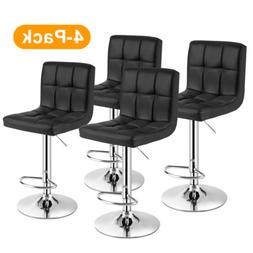 5PC Set Dining Glass Table + Chair Leather Metal Frame Kitch