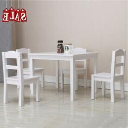 5pcs Home Kids Dinning set Wood Table & 4 Chairs Set Kitchen