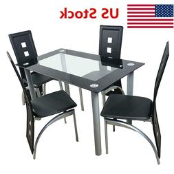 5pcs Tempered Glass Dining Table Chairs Set Kitchen Furnitur