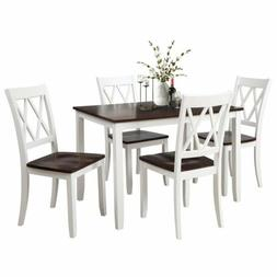 5Pcs Wood Dinner Set Table with 4Pcs High Back Chairs Kitche