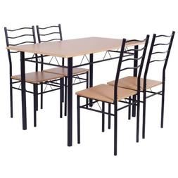 5PCS Wood Metal Dining Table Sets w/4 Chairs Home Living Roo