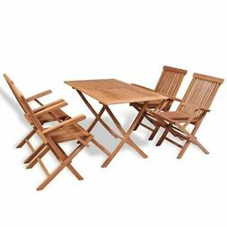 vidaXL 5x Solid Teak Wood Folding Outdoor Dining Set Arm Cha