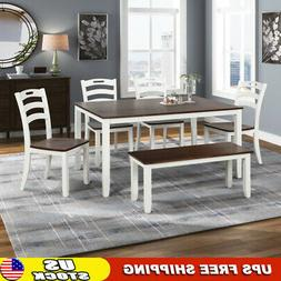 6 Pc Dining Set Bench Table And Chairs Dining Kitchen Furnit