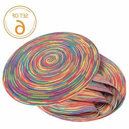 Set of 6 Braided Colorful Round Place Mats for Kitchen Dinin