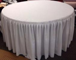 """60"""" in. Round Table Skirt Cover Polyester w/ Top Topper Plea"""