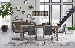 """62"""" Natural Mindi Wood Dining Table With Carved Legs French"""