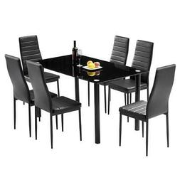 New Style 7 Piece Set 1 Dining Table 6 Chairs Room Kitchen B