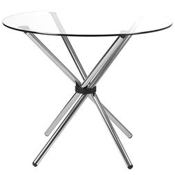 Eurø Style Hydra Clear Glass Top with Chromed Base Dining T