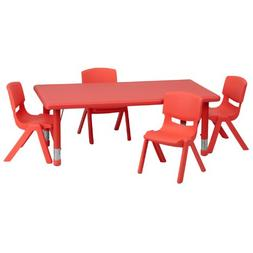 Flash Furniture 24''W x 48''L Rectangular Red Plastic Height
