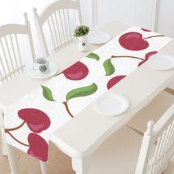 InterestPrint Custom Cherry Table Runner Cotton Linen Home P