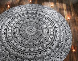 Round Table cover Beach Yoga Mat Round Tapestry Elephant Art
