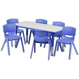 Flash Furniture 23.625''W x 47.25''L Rectangular Blue Plasti