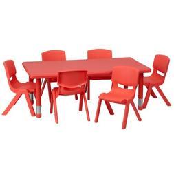 Flash Furniture 24 X 48 Adjustable Rectangular Red Plastic A