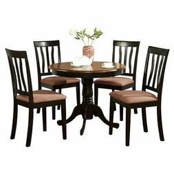 East West Furniture Antique 5 Piece Pedestal Round Dining Ta
